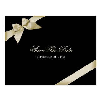 クリーム色のリボンの結婚式の保存日付2 ポストカード