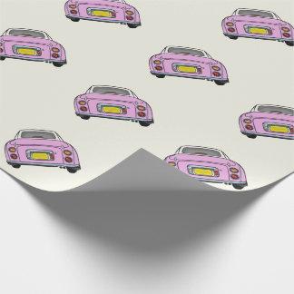 クリーム色の包装紙のピンクの日産・フィガロ ラッピングペーパー