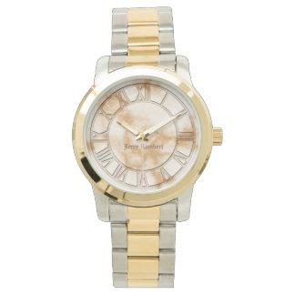 クリーム色の大理石の署名 腕時計