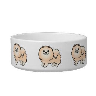 クリーム色の柔らかい漫画のポメラニア犬犬 ボウル