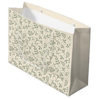 クリーム色の繰り返しパターンの分類された緑の葉 ラージペーパーバッグ
