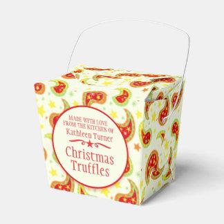 クリーム色の赤い緑のクリスマスの星のペイズリーのギフト用の箱 フェイバーボックス