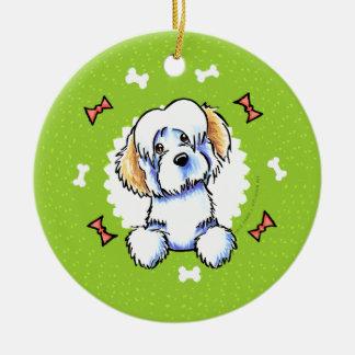 クリーム色のHavaneseの犬用の骨のクリスマスのリース セラミックオーナメント