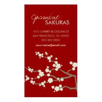 クリーム色のSakurasの桜の東洋の禅のアジア人 スタンダード名刺