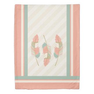 クリーム、珊瑚およびミントの緑の羽 掛け布団カバー
