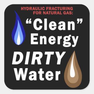 """""""クリーンエネルギー""""、汚れた水の正方形のステッカー スクエアシール"""