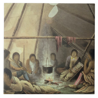 クリー族のインドのテントのインテリア、1820年3月25日、f タイル