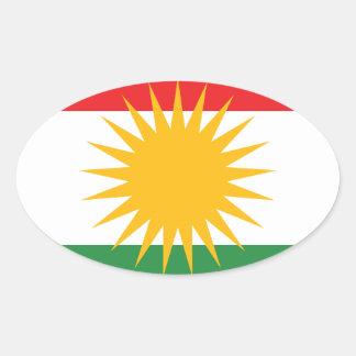 クルジスタンの旗(AlayのクルジスタンかAlaya Rengîn) 楕円形シール