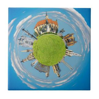 クルージュのnapoca都市ルーマニア少し惑星の陸標ar 正方形タイル小