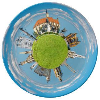 クルージュのnapoca都市ルーマニア少し惑星の陸標ar 磁器 食器