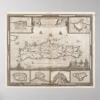 クレタギリシャ(1680年)のヴィンテージの地図 ポスター