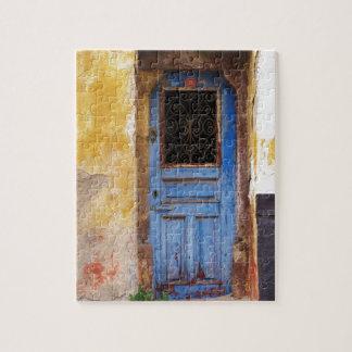 クレタ、ギリシャのギリシャの青いドア ジグソーパズル