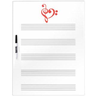 クレフ、音符記号のハート音楽 ホワイトボード