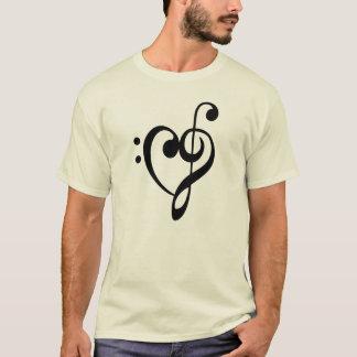 クレフ、音符記号音楽ハート Tシャツ