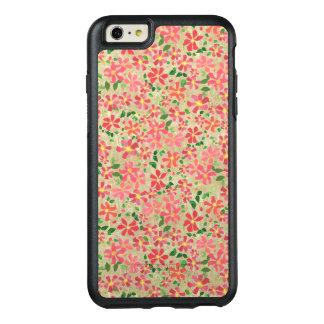 クレマチスのピンク、赤、暗灰色のオレンジ花パターン オッターボックスiPhone 6/6S PLUSケース