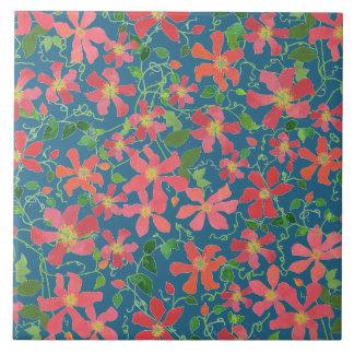 クレマチスのピンク、赤、深い青のオレンジ花柄 タイル