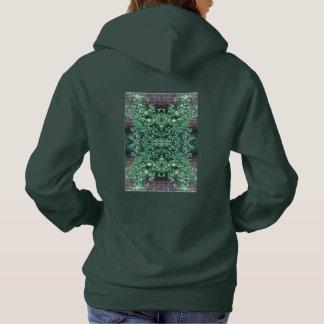 クレマチスの花Photo718のフラクタルのフード付きスウェットシャツの森林Grn パーカ