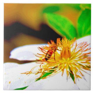 クレマチス及び蜂 タイル