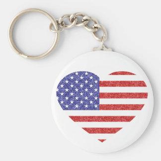 クレヨンのスタイルの米国のハートの旗の星及びストライプ キーホルダー
