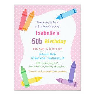 クレヨンの芸術および技術の子供の誕生日のパーティ カード