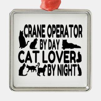 クレーンの操縦士の猫好き メタルオーナメント