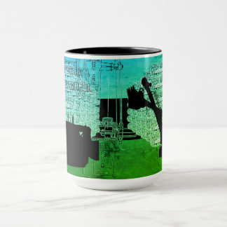 クレーンシャベル作動エンジニアの芸術のブルドーザー マグカップ