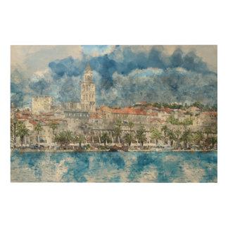 クロアチアの割れ目の都市 ウッドウォールアート