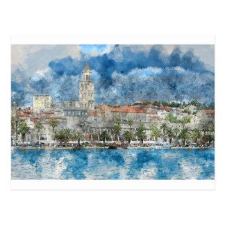 クロアチアの割れ目の都市 葉書き