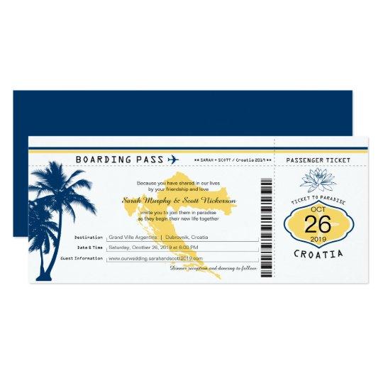 クロアチアの搭乗券の青および黄色の結婚式 カード