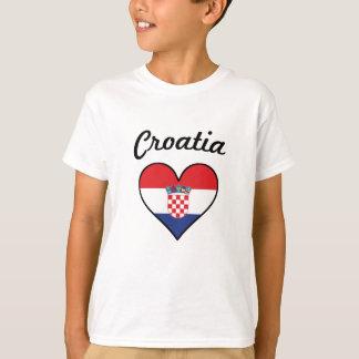 クロアチアの旗のハート Tシャツ