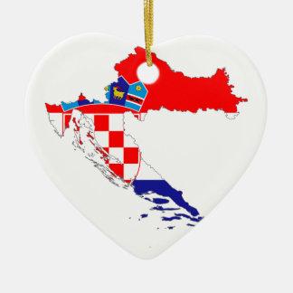 クロアチアの旗の地図 セラミックオーナメント