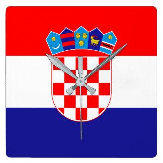 クロアチアの旗 スクエア壁時計