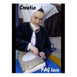 クロアチアのPAGのレース ポストカード