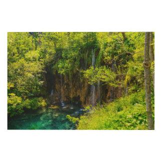 クロアチアのPlitviceの国立公園の滝 ウッドウォールアート