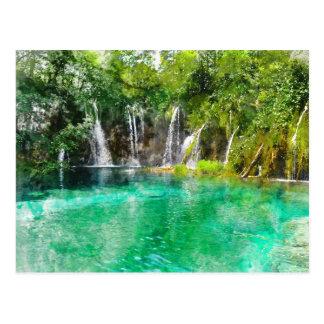 クロアチアのPlitviceの国立公園の滝 葉書き