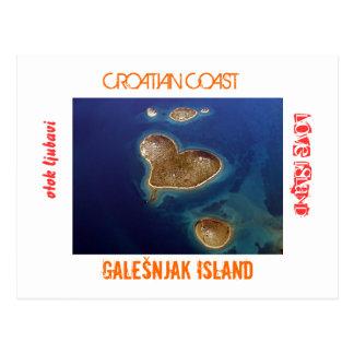 クロアチア-ハート形の島Galešnjak ポストカード