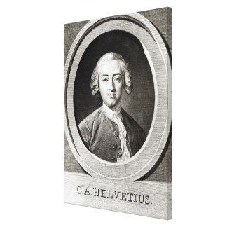 クロウドAdrien Helvetiusのフランス語のポートレート キャンバスプリント