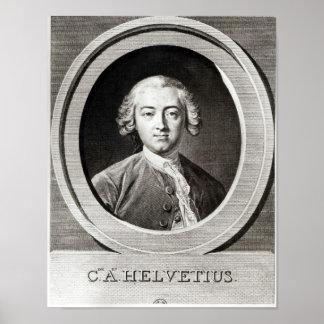 クロウドAdrien Helvetiusのフランス語のポートレート ポスター