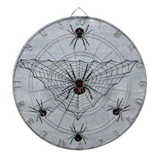 クロゴケグモのくもの白の赤い印のくもの巣 ダーツボード