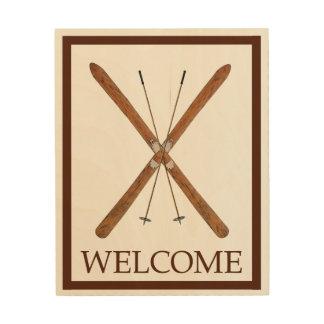 クロス・カントリーのスキーおよびポーランド人-歓迎 ウッドウォールアート