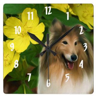 クロテンのコリー犬の芸術 スクエア壁時計