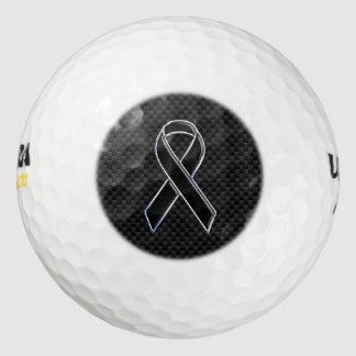 クロムおよびカーボンスタイルの黒のリボンの認識度 ゴルフボール