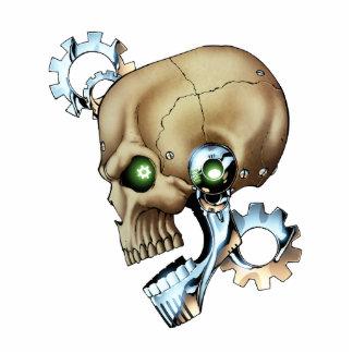 クロムの未来からの外国のロボットスカル + 骨 写真彫刻(台付き)