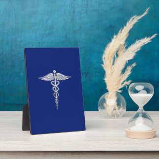 クロムはケリュケイオンの医学の記号の濃紺Decoを好みます フォトプラーク