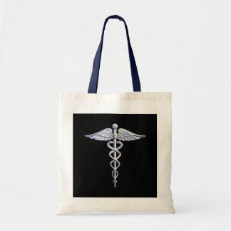 クロムはケリュケイオンの医学の記号の黒の装飾を好みます トートバッグ
