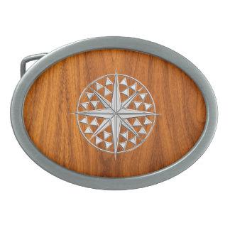 クロムはチークのベニヤの航海のなコンパスの星を好みます 卵形バックル