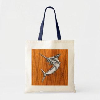 クロムはチークの木製の穀物の装飾のマカジキを好みます トートバッグ
