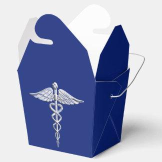 クロムは青い装飾のケリュケイオンの医学の記号を好みます フェイバーボックス