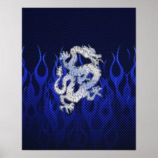 クロムカーボン繊維のスタイルの青いドラゴン ポスター