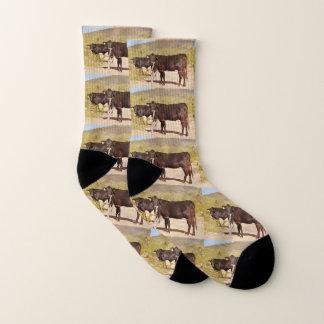 クロムユニセックスなソックスのブラウン牛 ソックス